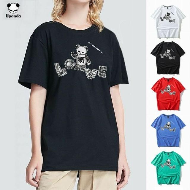 【5カラー】ユニセックス メンズ/レディース 半袖 Tシャツ パンダプリント UPANDA ストリート系 インスタ / Unisex street fashion trend cotton LOVE print T-shirt (DCT-595884871552)