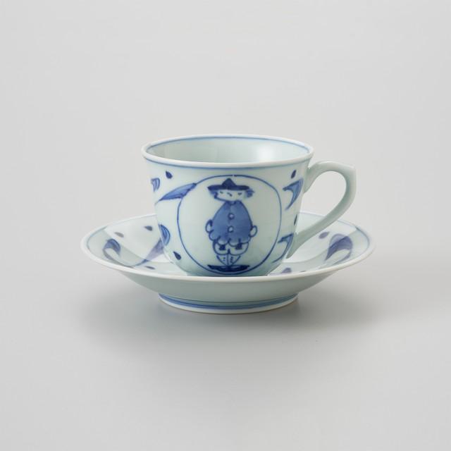 【青花】流水マント異人 百合型コーヒー碗皿