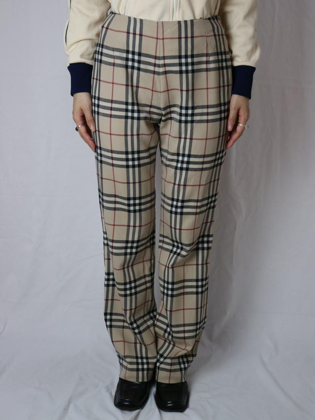 Burberry check pattern straight pants【5019】
