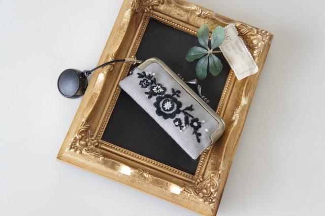 刺繍の印鑑ケース(マスタード)