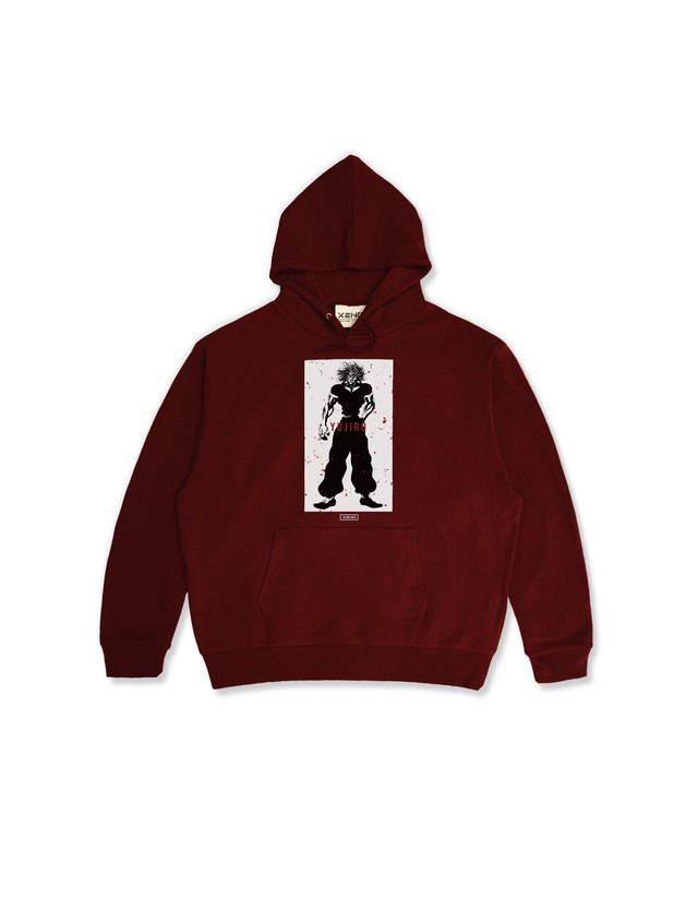 "XENO x BAKI Collaboration Hoodie ""YUJIRO"" Red"