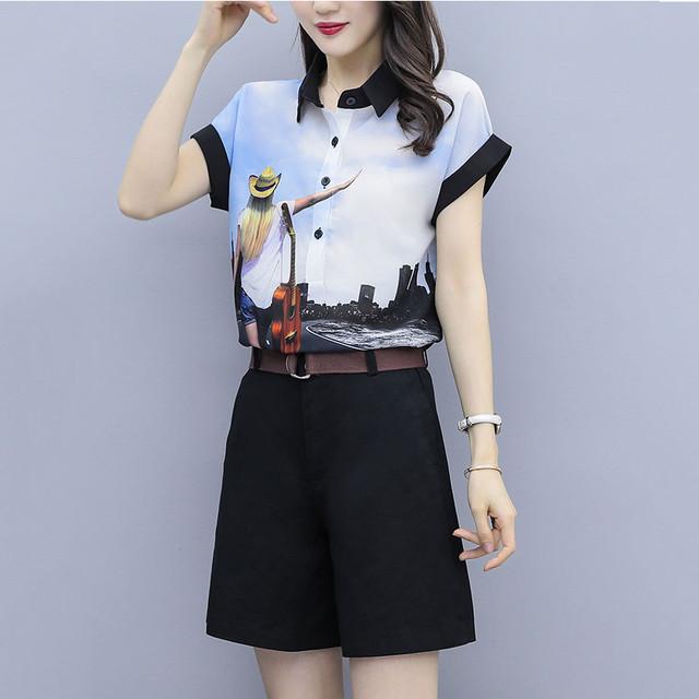 【set】エレガントプリント半袖気質アップTシャツ+無地合わせやすいショートパンツ2点セット