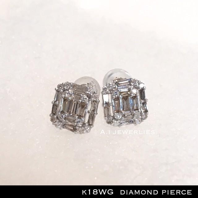 ピアス 18金 ホワイト ゴールド k18 WG 天然 ダイヤモンド ピアス / k18 diamonds Pierce