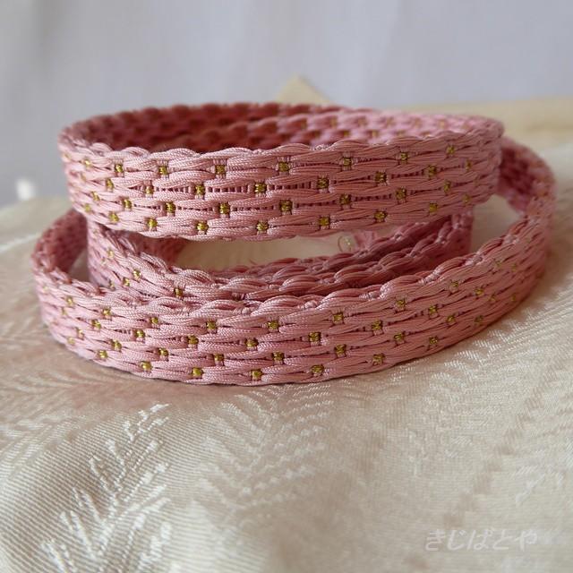 正絹 ベビーピンクに金糸の帯締め