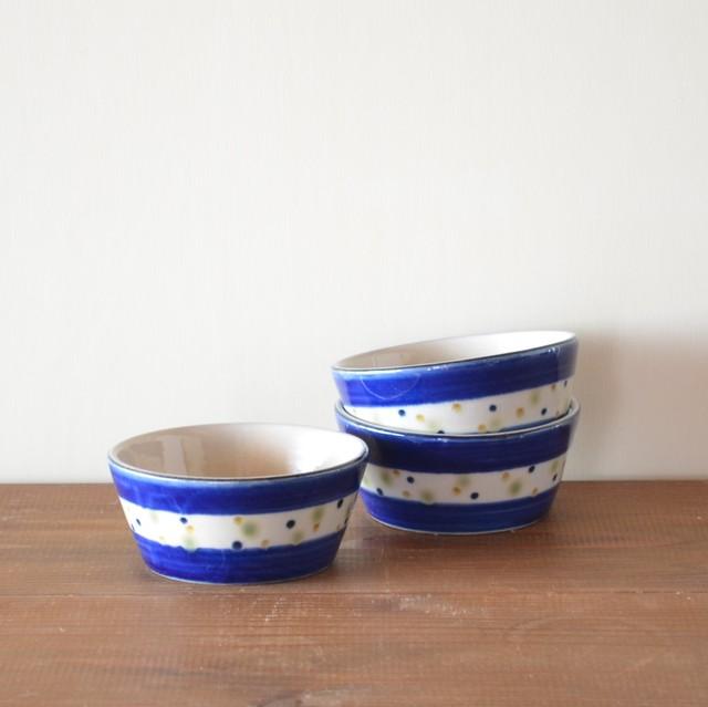 コバルトブルーと三色水玉の小鉢 大