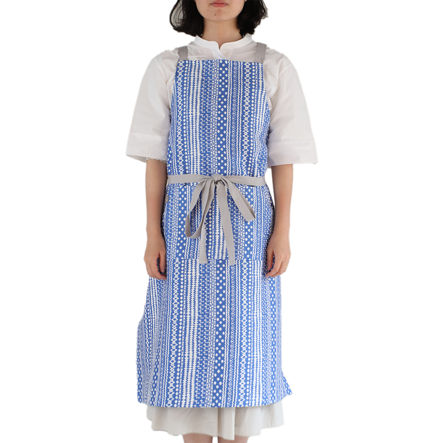 琉球柄 ロングエプロン   KASURI SHIMA