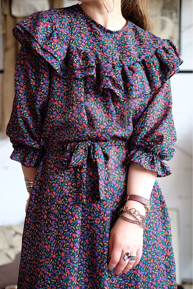 Vintage liberty print frill dress