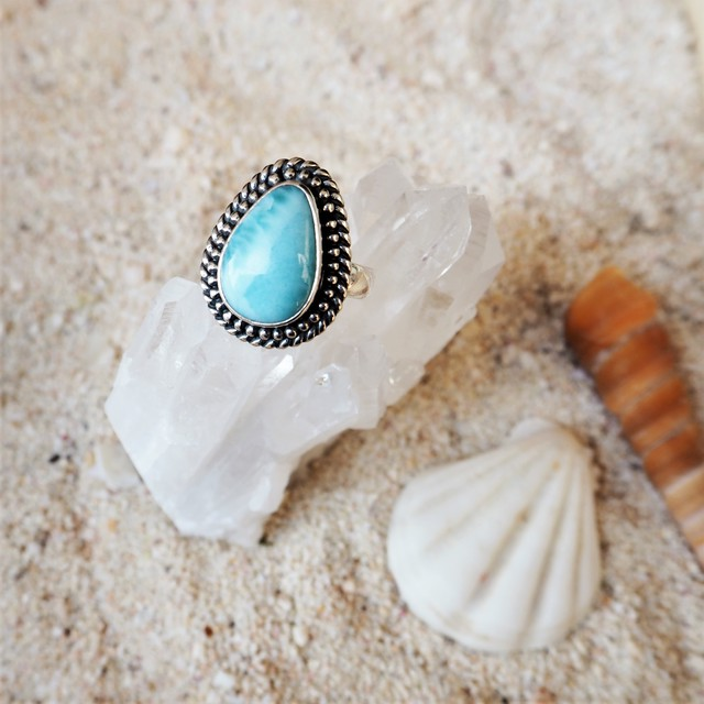 Drop Chain Larimar Ring
