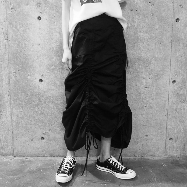 【WOMENS - 1 size】HIGHWAIST GATHER SKIRT / Black