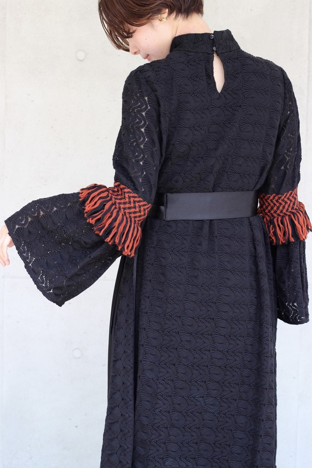 【 EBONY】high neck lace dress-black