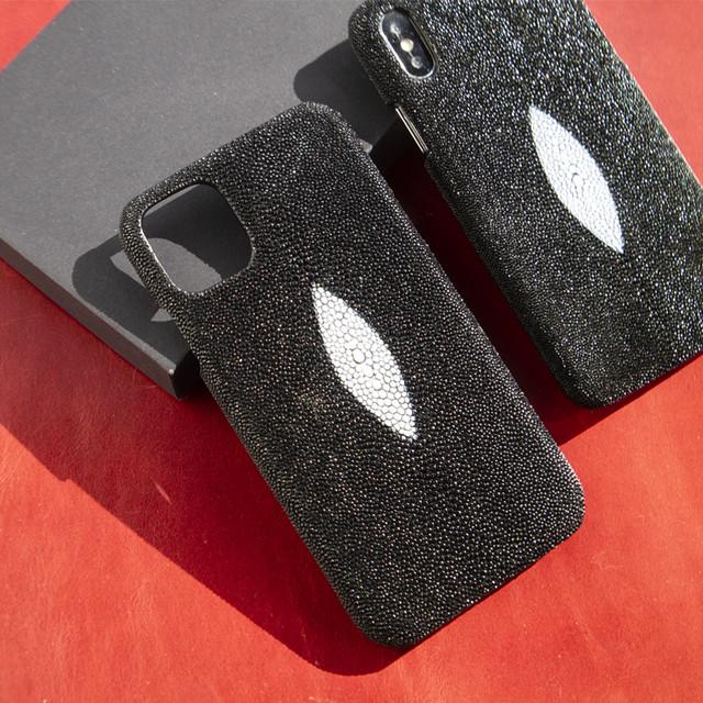 iphone11ケース  iphoneXs スティングレイ エイ皮 送料無料 本革 希少 iphoneケース 高級 カバースティングレー丈夫 素材 スマホケース