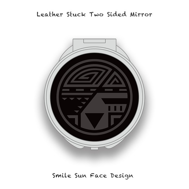 Leather Stuck Two Sided Mirror / Smile Sun Face Skull Design 004