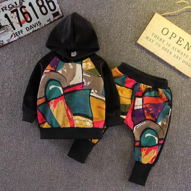 【子供服】裏起毛フード付きプリント長袖切り替え二点セット24304390