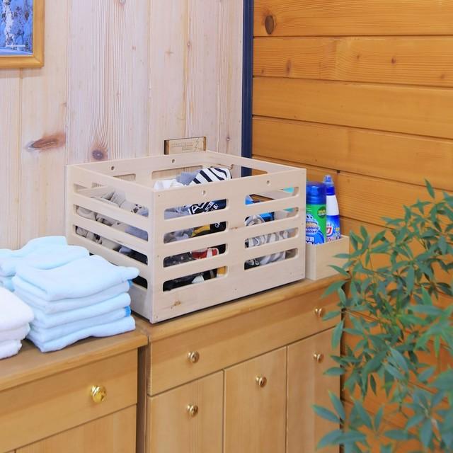 ランドリーボックス[もみの木の洗濯カゴ]