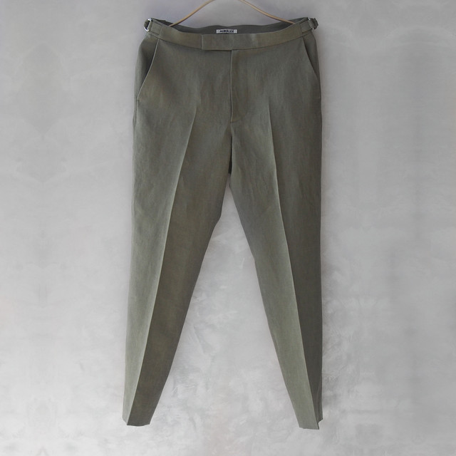 <30%OFF>AURALEE WASHED LINEN SLACKS OLIVE GREEN