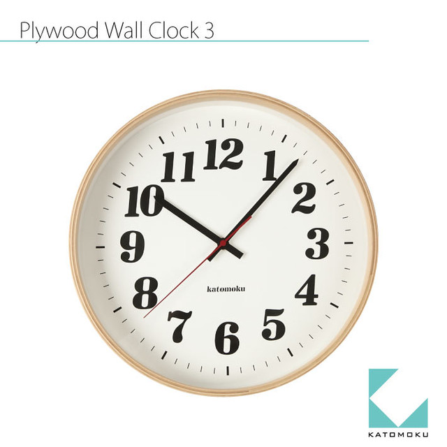 KATOMOKU plywood wall clock 3 km-43N