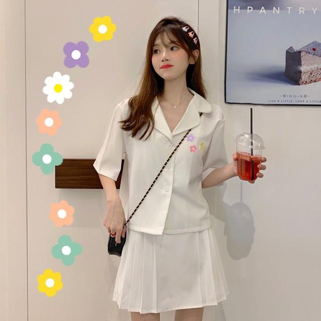 【set】「単品注文」韓国系学園風半袖シャツ/無地プリーツスカート