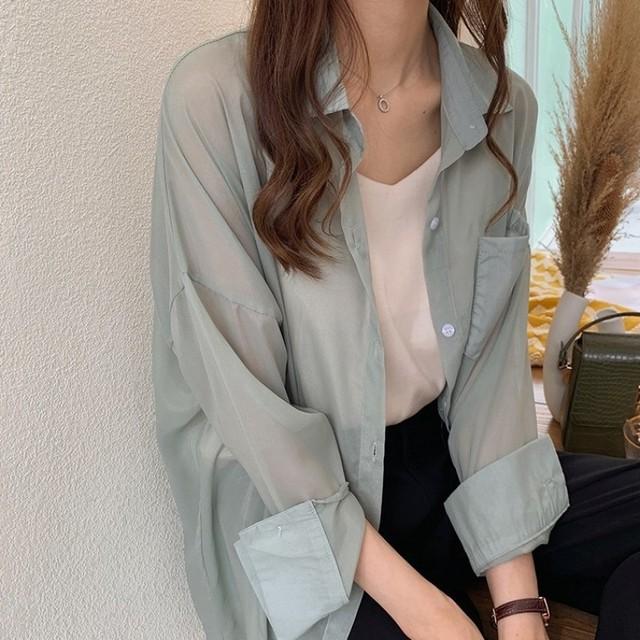 【アウター】韓国系清新組み合わせやすい シングルブレスト折襟無地ロング丈長袖ブラウス44339182