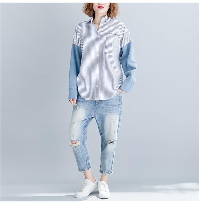 【爽やかデニム+ストライプ切り替えシャツ】春夏 さらっとした素材 スキッパーシャツトップス ブラウス 大きいサイズ レディース 切り替え袖