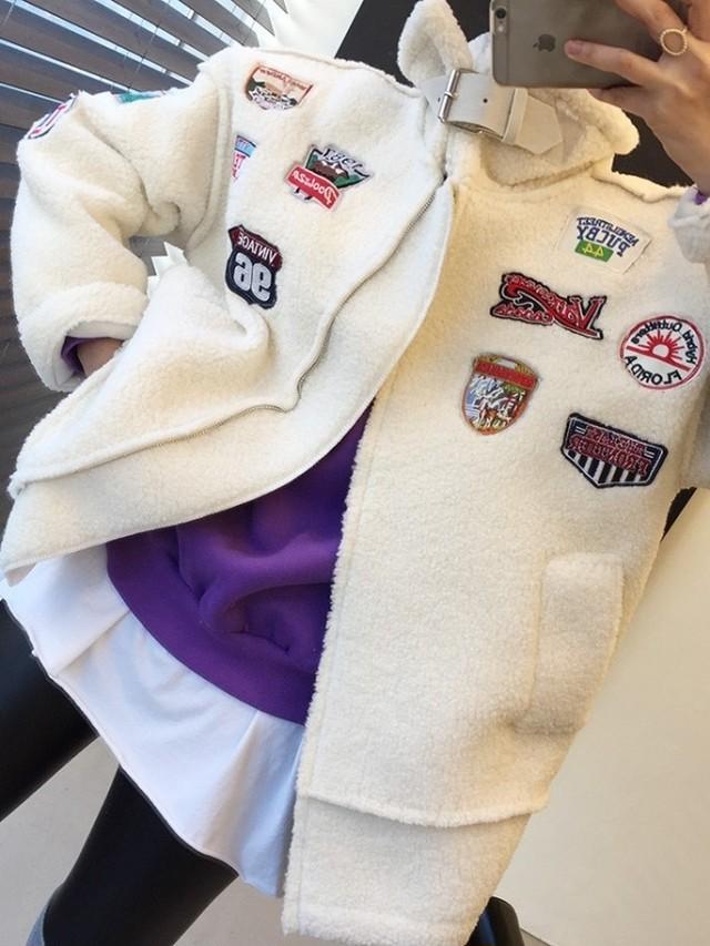 羊毛もこもこパッチワークジャケット ジャケット アウター 韓国ファッション