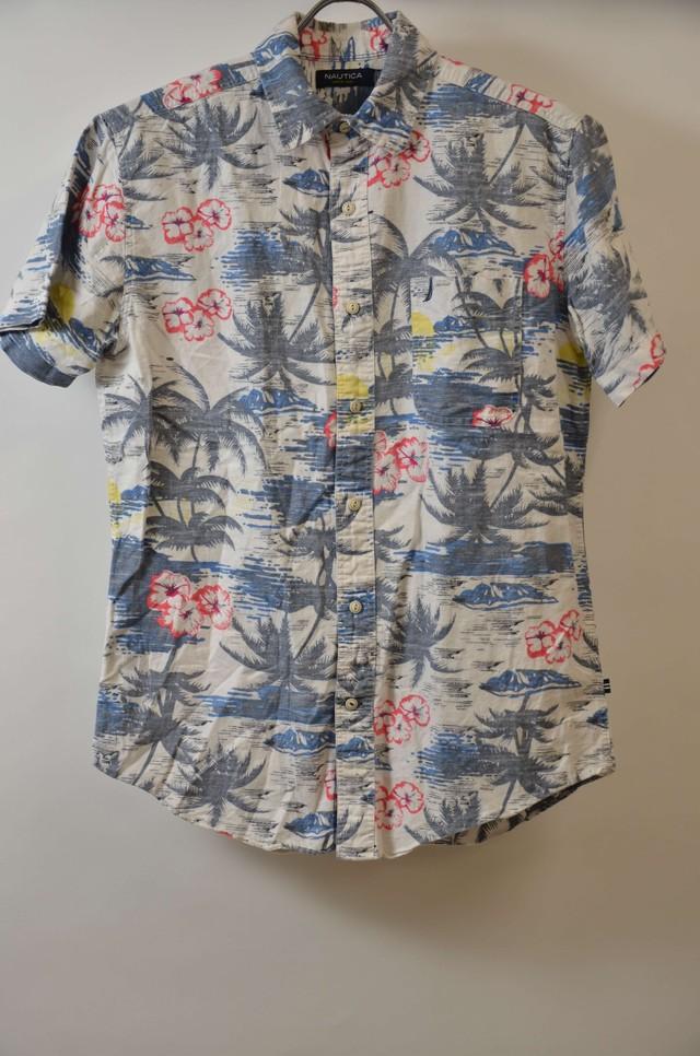 【Sサイズ】NAUTICA ノーティカ ALOHA SHIRTS アロハシャツ WHITE/NAVY 400602190767