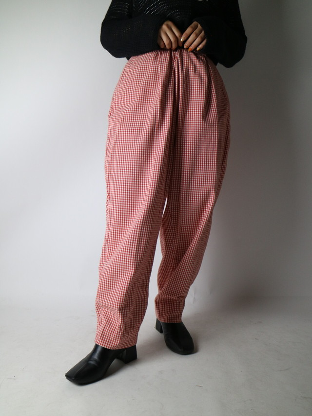 plaid pattern tuck pants【1024】