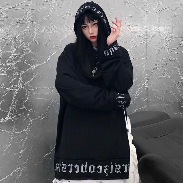プルオーバー パーカー 英字 パッチ 刺繍 ルーズ 韓国ファッション レディース オーバーサイズ カジュアル ストリート ファッション / Patch letter embroidered loose hooded sweater (DTC-628523694019)