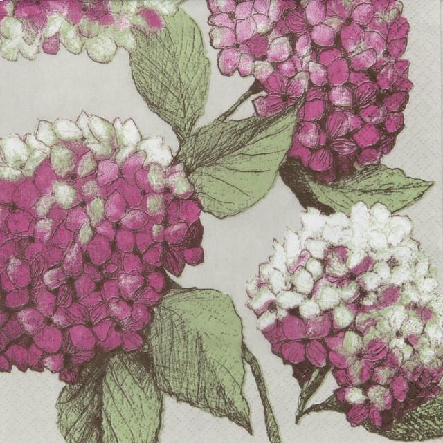 【PENTIK】バラ売り1枚 ランチサイズ ペーパーナプキン HORTENSIA ピンク