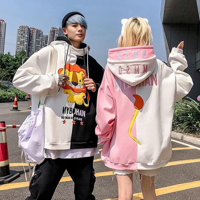 【トップス】キュート配色キュートカートゥーンフード付きセーター34200832