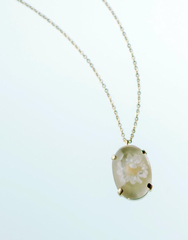 【SALE70%OFF】本物のお花のアロマアクセサリーネックレス(ホワイト)