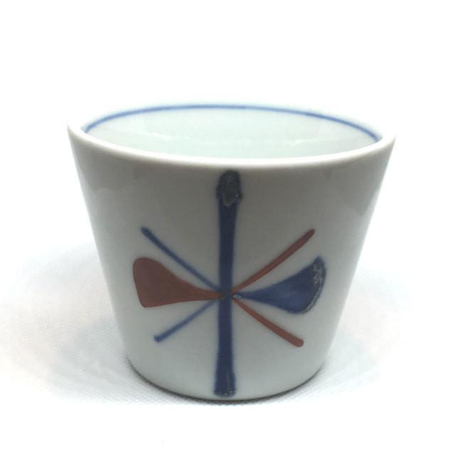 【砥部焼/梅山窯】蕎麦猪口(赤蝶紋)