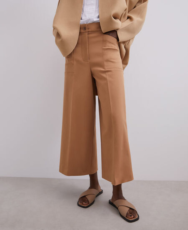 HIGH-WAIST STRAIGHT TROUSERS IN COTTON [268051591102]