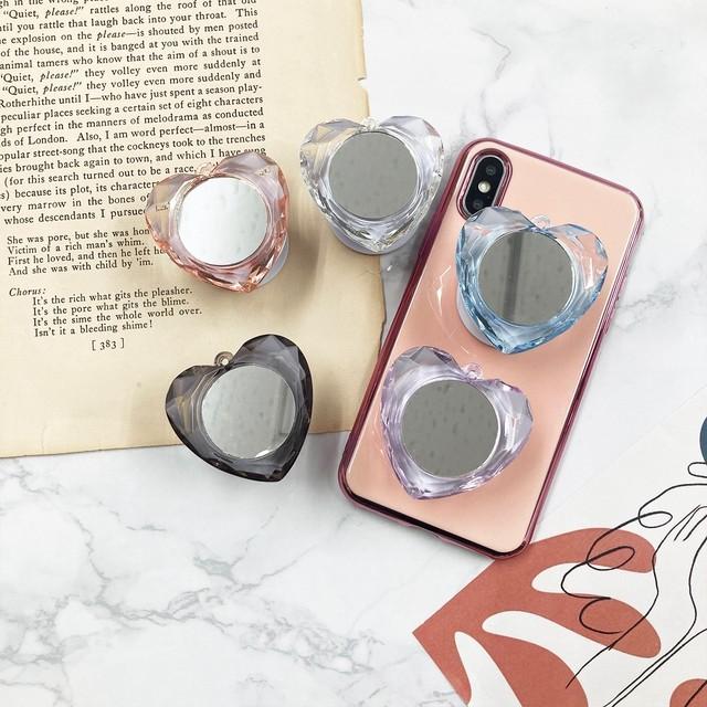 アクセサリー グリップ グリップトック iPhoneケース スマホアクセサリー ハートミラーグリップ ハート 鏡 ミラー レディース かわいい 大人 おしゃれ 韓国