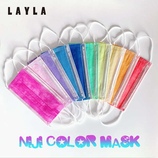 虹色カラフル3層ファッション不織布マスク(各色×1枚計10枚入) (L20089-055)
