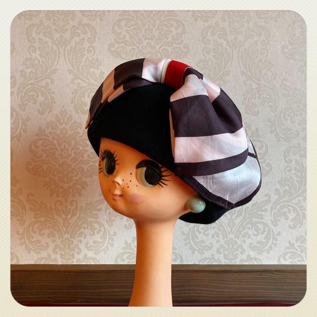 白黒×ブラック リボンベレー帽 モアオリジナル
