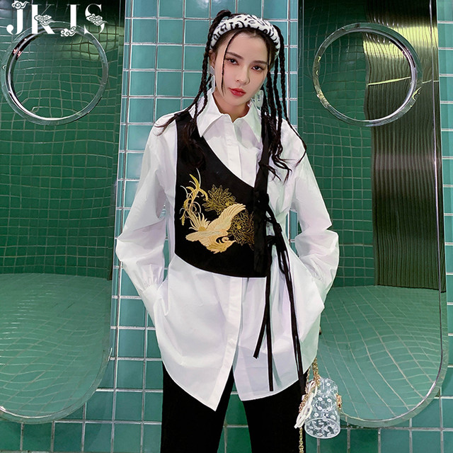 【JKJSシリーズ】★チャイナ風シャツ★ 刺繍 重ね着風 エレガント 個性的 オリジナル ブラック 黒い ホワイト 白い