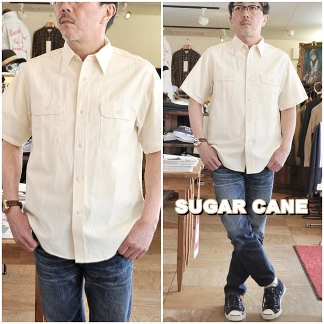 SUGARCANE シュガーケーン 半袖ワークシャツ 37942 東洋エンタープライズ TOYO ホワイトシャンブレーシャツ