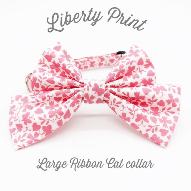 猫 首輪 ラージリボン レッド 赤 クローバー柄 リバティプリント × Gracey