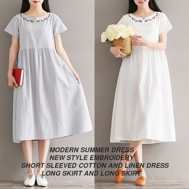 フラワー刺繍 花柄ワンピース / MODERN SUMMER DRESS, NEW STYLE EMBROIDERY, SHORT SLEEVED COTTON AND LINEN DRESS (WCN-1529857288)