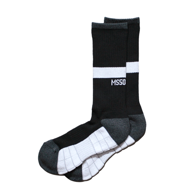 TWO WAY crew socks <Black×White> - メイン画像