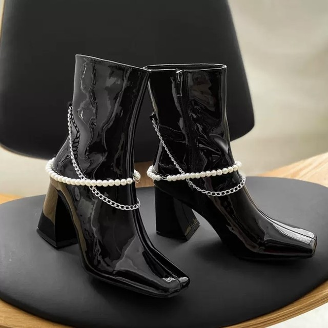 パール パテントレザー シルバー ミディアム ブーツ 2色 B4821