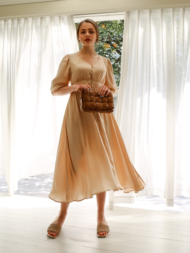 vintage satin gown one-piece(cream yellow)