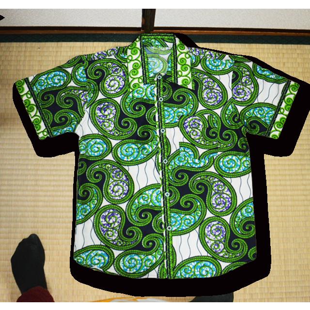 男性用アフリカ柄シャツ(緑)