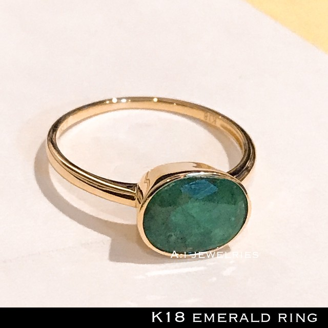 k18 18金 5月 誕生石 天然石 エメラルド  リング / k18 emerald ring