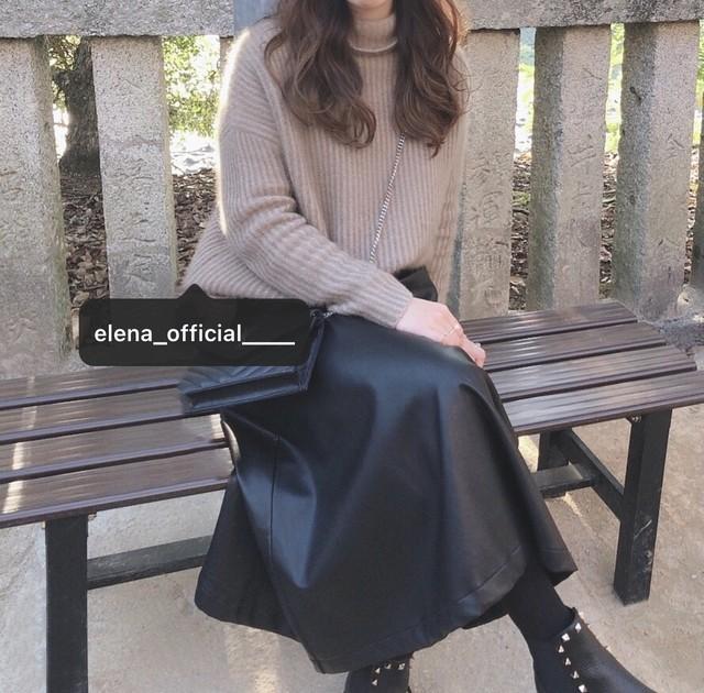 Eléna フェイクレザースカート(ミンクベージュ)