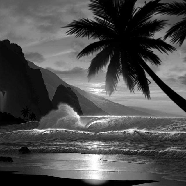 黄金の波」白黒 | 海の絵・イラストショップ ART in LIFE