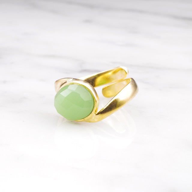 SINGLE STONE WAVE RING GOLD 008