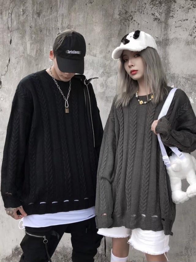 ビンテージかぎ編みニット ★UNISEX セーター ニット  韓国ファッション