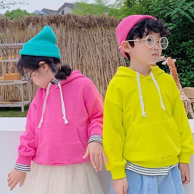 【トップス】学院風男の子韓国長袖裹起毛キーズ女の子無地スウェット·パーカー24652369