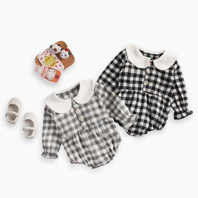 【子供服】チェック柄長袖ゆったり軽く柔らかいベビーオールインワン23328926